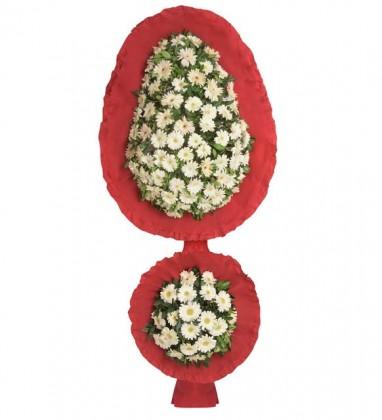 Beyaz Gerberalar Çift Katlı Çelenk