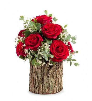 Kütükte 9 Kırmızı Güller
