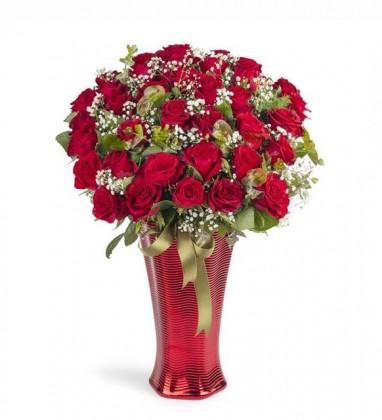Luxury Vazoda 41 Kırmızı Gül Aranjmanı