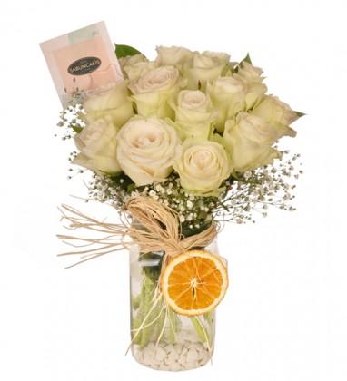 Lover Heart Beyaz Güller