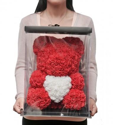 Kırmızı Güllü Beyaz Kalpli Solmayan Gül 40cm
