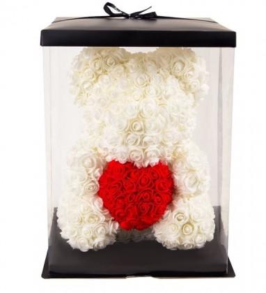 Ayıcık Teddy Rose Kırmızı Kalpli Solmayan Gül 40 cm