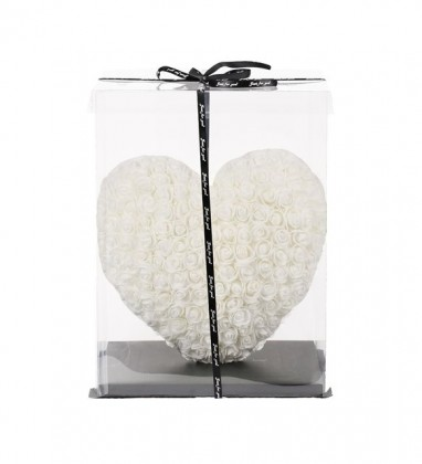 Beyaz Kalpli Solmayan Yapay Gül 40cm Kalp Heart Rose